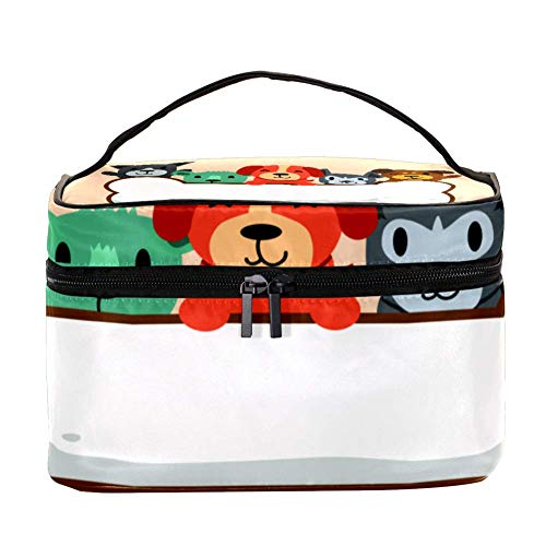 TIZORAX Snile Dogs in Bone Cosmetic Bag Travel Toiletry Case Large Makeup Organizer Box