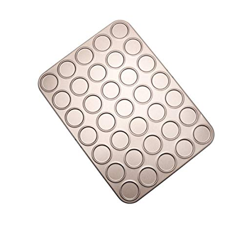Pinxuan 15/30/35 Holes Cookie Sheet Macaron Pan, Non-Stick Carbon Steel Shallow Bakeware for Baking Pastry, Cookie, Macaron, Brioche(35-Capacity)
