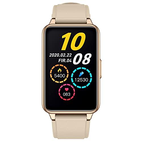 BNMY Smartwatch 1.57' Reloj Inteligente IP68 con Pulsómetro/Temperatura Corporal,Monitor De Sueño,Monitores De Actividad Calorías/Podómetro/Cronómetros,Control De Musica,para Android iOS,Oro