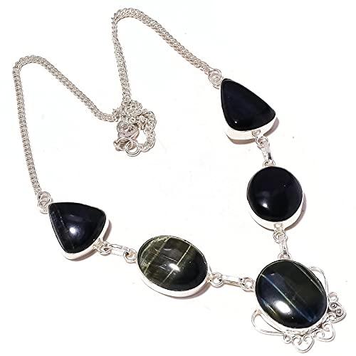 Collar de cadena hecho a mano con piedra preciosa de ojo de tigre negro para mujer