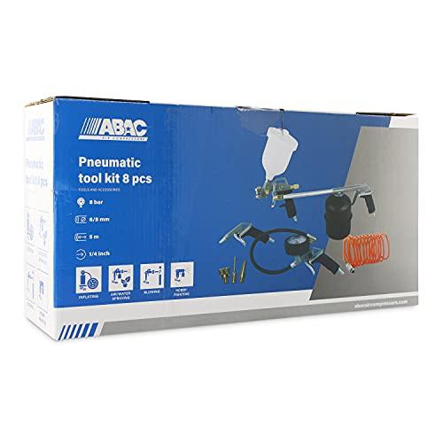 ABAC Accessori Compressore 8 pezzi G-810P (pistola a spruzzo di vernice 600 ml + pistola di lavaggio 900 ml + pistola di soffiaggio + Gonfiagomme con manometro + tubo a spirale + 3 punte)