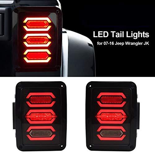 Flarestar Jeep Wrangler Tail Lights, Jeep Wrangler LED Tail Lights, Jk TailLight,Led Tail Lights for Jeep Wrangler, Jeep Rear Lights, with Brake Light & Reverse Light,JK JKU 2007-2017 Accessories
