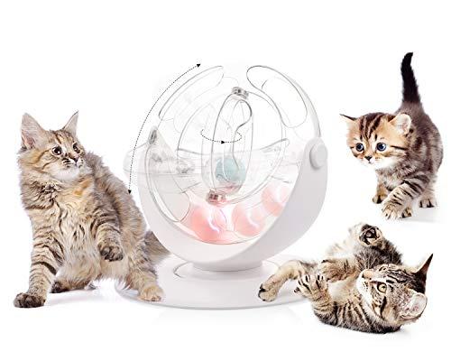 Pecute Juguete para gato Juguete bola de pista de espacio giratoria de 360 grados con fulgor bola de campanita et Catnip bola