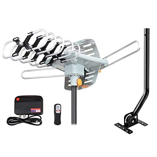 Outdoor Amplified HD Digital TV Antenna 150 Miles Range -with 360 Degree Rotation, Wireless Remote Control,33 FT RG6 Coax Cable & Mounting Pole,for 4K UHF VHF 1080P 4K and All TVs .Support 2 TVs