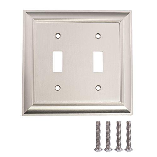 Amazon Basics Double Toggle Light Switch Wall Plate, Satin Nickel, Set of 2
