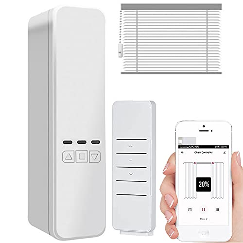 WiFi Smart Automatic Curtain Motor: Blinds Curtain Chain Motor with Remote, Wireless App/Automate Timer/Voice Control Blinds Drive, Automatic Curtain Opener Compatible with Alexa, Google Home