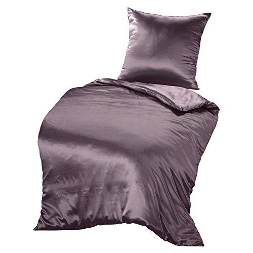 THXSILK Seidenbettwäsche Set 2 teilig, Bettbezug 135 x 200 cm und 80 x 80 cm Kissenbezug, Hypoallergen 19 Momme Maulbeerseide Bettwäsche, Ultra Weich und Glatt, Lila