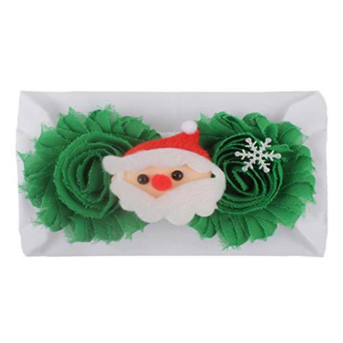 planuuik Kleinkind Kind Baby breites Stirnband Weihnachten Santa Flower Patchwork Bowknot Haarband Kontrastfarbe Infant Festival Headwrap