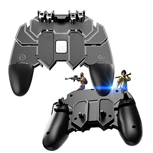 Lesgos Mobile Game Controller for PUBG, Mobile Game Trigger Joystick Gamepad Aim Trigger Fire Buttons L1R1 [Six-Finger] Shooter Sensitive for 4-6.5' Android & iOS Phone[Upgraded Version]