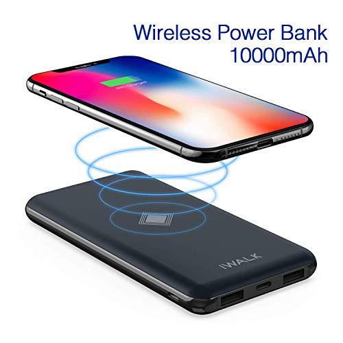 iWALK Wireless Ladegerät Powerbank 10000mah Externer Akku Qi Kabelloses Portable Charger QC 3.0 & PD mit USB-C und USB-Anschluss Kompatibel mit iPhone XS Max X 8 7, S9/S8/S7/Note8 LG G3 usw