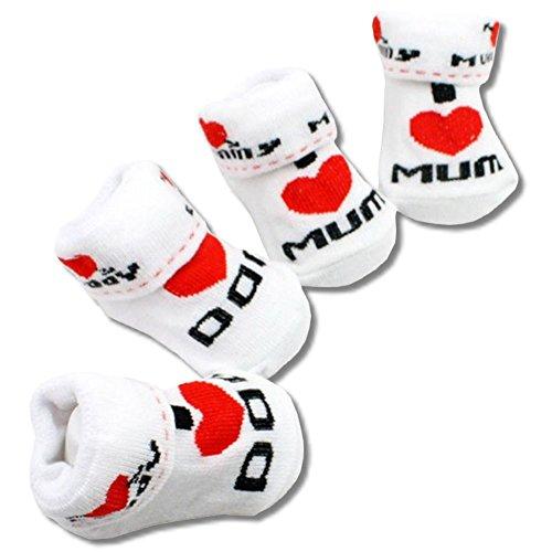 EROSPA® Neugeborenen Baby Socken mit Schriftzug »I love Mum« Söckchen Mädchen Jungen Geschenk Geburtstag Weihnachten (I love Mum)
