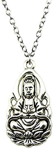 Aluyouqi Co.,ltd 36X18Mm 70Cm Collar con Colgante de Buda Collar de Color Plata Antiguo