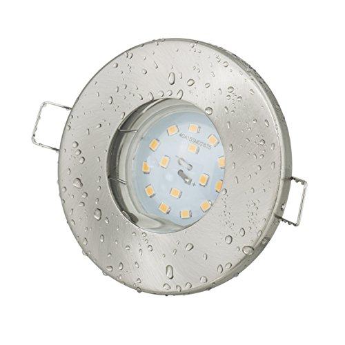 Badezimmer Einbaustrahler Aqua IP65 | 230Volt GU10 5Watt LED Leuchtmittel warmweiss 2700 Kelvin - 450Lumen | Für Bad - Sauna - Vordach - Keller - Nassraum - Feuchtraum