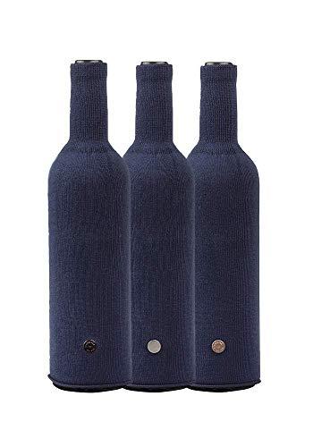 L'Atelier du Vin Bottle Cache (x3), Cotton, Black
