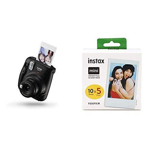 Instax Mini 11 Camera, Charcoal Gray + Fujifilm Instax Mini Instant Film, 5X 10 Blatt (50 Blatt), Weiß