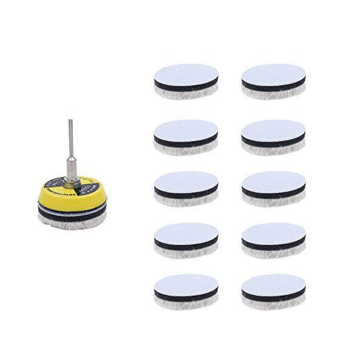 AUTOTOOLHOME 11pcs 2 inch Cotton Polish Pads Wood Buffing Cotton Wheel Polishing Pads with Hook and Loop Sanding Discs Backer Plate