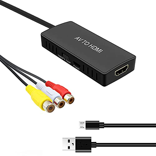 RCA to HDMI Converter AV to HDMI Adapter Composite/CVBS to HDMI Video Audio Converter, Widely Compatible with Various RCA Equipment for Nintendo 64, PS2, PC, Laptop, Xbox, VHS, VCR, Camera DV ect.
