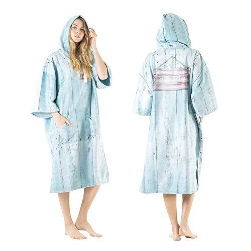 Vivida Lifestyle - Poncho à Capuche en Impression, Robe pour Se Changer à l'Extérieur, Serviette avec Ouvertures sous Les Bras, Poches Larges avec Fermeture Éclair pour la Plage (Blue Beachshack, S/M)