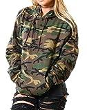 Señoras Tops Sudadera con Estampado Sudadera Clásico Camuflaje con Capucha Militar Blusa Manga Larga Sudadera con Capucha Blusa Streetwear Chaqueta De Transición Parka (Color : Verde, One Size : S)
