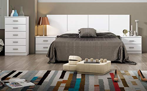 Miroytengo Pack Dormitorio habitación Matrimonio Couple Completo Color Blanco Moderno (cabecero + 2...