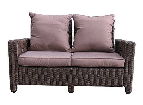 GRASEKAMP Qualität seit 1972 Rattan Lounge Sofa 140cm Couch Futon Couchgarnitur Braun