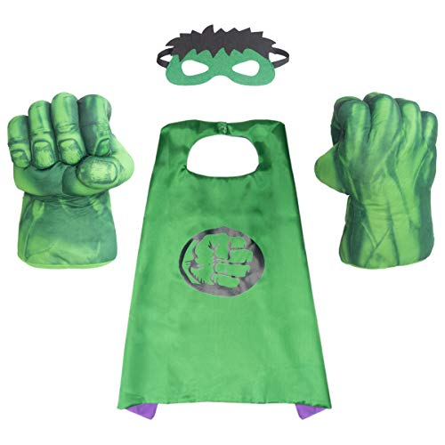 Superhero Kids Cape & Plush Hands Fists Gloves Halloween Costume Set, Super Hero Inspired Looking Toddler Pretend Play,Birthday gifts for boys, Halloween, Christmas