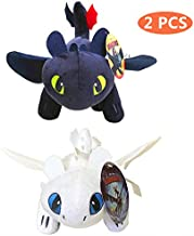 How to Train Your Dragon Toothless Light & Night Fury Soft Toy Features 10inch Plush Deluxe Plush Dragon for Children 2 PACK
