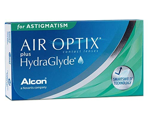 Alcon Air Optix plus HydraGlyde for Astigmatism Monatslinsen weich, 6 Stück / BC 8.7 mm / DIA 14.5 mm / CYL -1.25 / ACHSE 90 / -0.75 Dioptrien