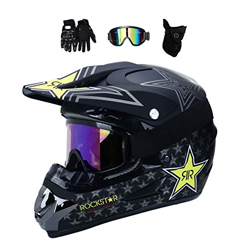 MRDEER® Motocross Helm Set mit Handschuhe Maske Brille, Unisex Adult Off Road Helm Kit Motorradhelm Cross Helme Schutzhelm ATV Helm mit Abnehmbare Earmuffs, für Männer Damen Sicherheit Schutz,A,L