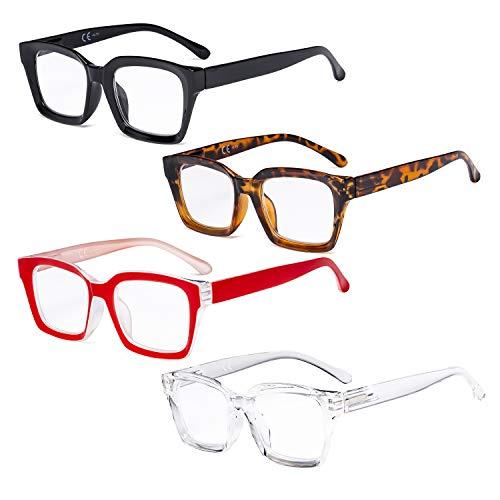 Eyekepper 4 Paquete Señoras Gafas de lectura - Lectores de diseño cuadrado de gran tamaño para Mujeres +1.25