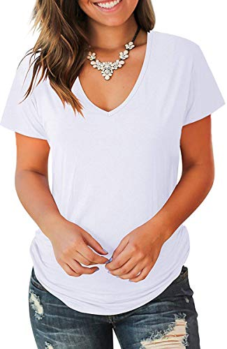 Jescakoo Cute Summer Tops for Women 2019 Solid T Shirts Short Sleeve White M