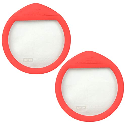 Pyrex Ultimate OV-7402 Red 7 Cup Round Glass Storage Lid - 2 Pack