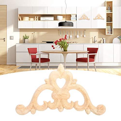 Aplique de esquina calcomanía para gabinete calcomanía de esquina de madera Material de madera de goma sin pintar para decoración del hogar