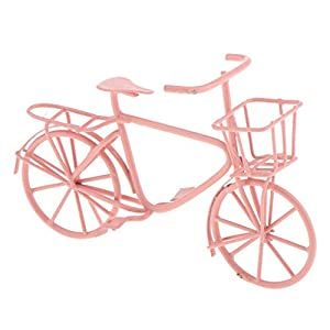 taotenish 112 scale metal handmade bike bicycle dollhouse dining room garden accessories pink