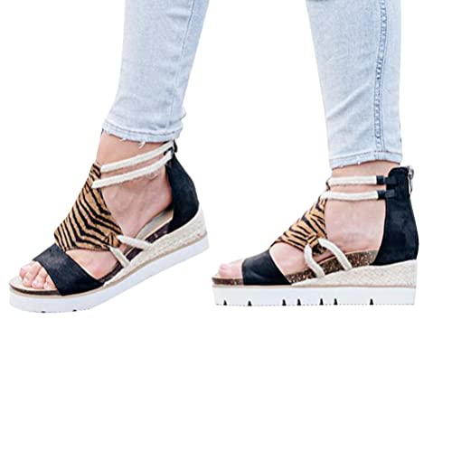 Tomwell Sandalias Plataforma Mujer Sandalias Playa Bohemias Verano Punta Abierta Sandalias De Cuña Zapatos con Tacón con Cremallera