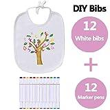 Qcore - Babero para bebé, color blanco, para pintar, 12 unidades, pañuelos de...