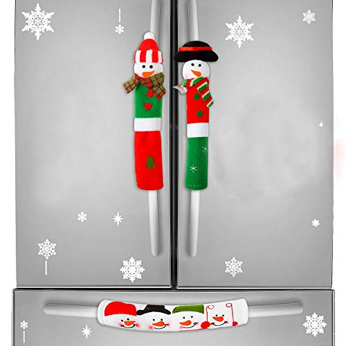 DAWEIF 3pcs Christmas Handle Cover Set Snowman Refrigerator Door Handle Covers Kitchen Appliance Anti Skid Protector