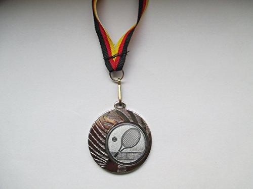 10 x Medaillen - aus Stahl 40mm - mit einem Emblem, Tennis - inkl. Medaillen Band - Farbe: Silber - (e262)