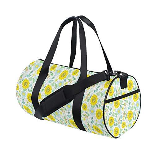 PONIKUCY Bolsa de Viaje,Impresionante Patrón Floral IR Brillante Verano Flores Plantas Ramas Y Elementos Gráficos,Bolsa de Deporte con Compartimento para Sports Gym Bag