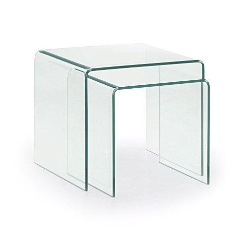 Kave Home - Set de 2 mesas auxiliares Burano Transparente Rectangular 50 x 45/42 x 40 cm de Cristal...