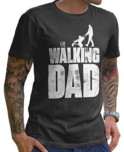 Stylotex Lustiges Herren Männer T-Shirt Basic | The Walking Dad | Geschenk für werdende Papas, Größe:L, Farbe:Darkgrey