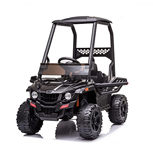 BISHE Powered UTV with Ceiling, Black Electric Ride-on Car for Kids, Toy Car with LED Headlights, 12V Large Battery Capacity Car Ride-on Toys, Utility Vehicle Toy Ride On with 2.4GHZ Remote Control -  BUS-CARW42229400HS