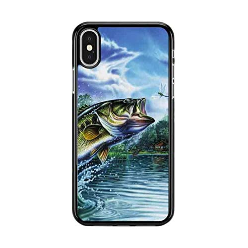 Deal Market LLC - Bass Fishing Hook Bait Fish - Hard Rubber Phone case for Apple iPhone XR (2018 Model) Includes 1 Screen Protector- Custom Made and Shipped from USA