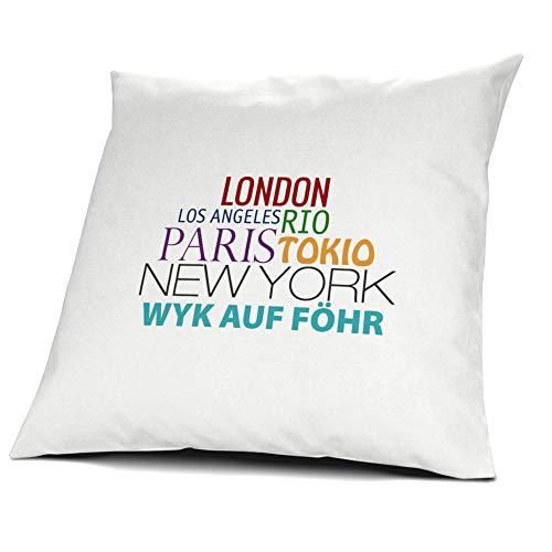 printplanet Kopfkissen Wyk auf Föhr, Kissen mit Füllung, Famous Cities of The World, 40 cm, 100% Baumwolle, Städtekissen, Souvenir, Geschenkidee