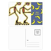 エジプトのフィギアローラースケートのパターン バナナのポストカードセットサンクスカード郵送側20個