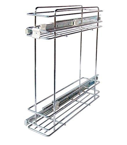 Carrello Cestello Portabottiglie Estraibile a 2 Ripiani per Mobile da Cucina Sottolavello in Acciaio Cromato