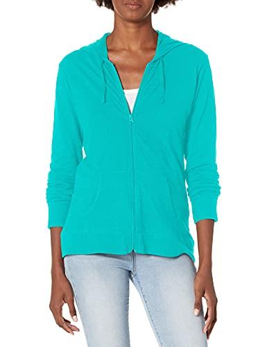 Hanes Women's Jersey Full Zip Hoodie, Eco Teal, Small