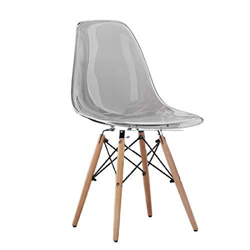 UELEGANS Juego de 4 sillas Fantasma de policarbonato + Acero para Comedor, Sala de Estar, Oficina, Restaurante y jardín, 46 x 46 x 83cm,Wooden Legs