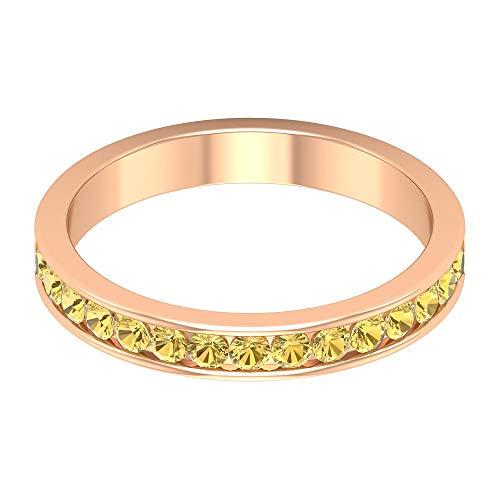 Rosec Jewels 18 quilates oro rosa redonda Yellow Citrine
