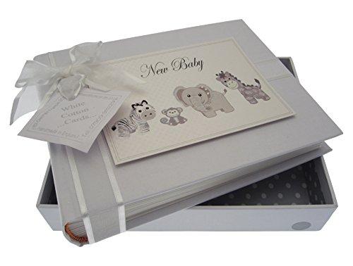 White Cotton Cards New Baby, Petit album photo, Argent Jouets